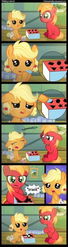 Helping a sis out. by Coltsteelstallion on deviantART/ did anyone else see the creeper? / secret message in the blocks My Little Pony Comic, My Little Pony Drawing, My Little Pony Pictures, Mlp My Little Pony, My Little Pony Friendship, Mlp Comics, Funny Comics, Equestria Girls, Little Poney