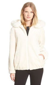 Gallery Grooved Faux Fur Hooded Jacket