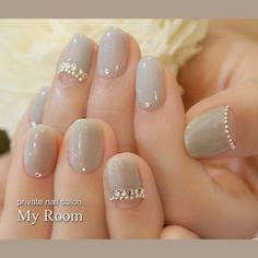 Gel Nail Designs You Should Try Out – Your Beautiful Nails Korean Nail Art, Korean Nails, Grey Nail Designs, Japanese Nail Art, Elegant Nails, Bridal Nails, Wedding Manicure, Super Nails, Love Nails