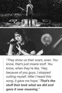 this is why i look up to them. their songs give people hope. they save lives. they stop self harm. and theyre pretty funny too.♡