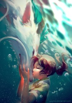 """yuumei-art: """" Spirited Away is my second favorite Miyazaki movie and it's long overdue for a fanart :) I especially love the scene when Chihiro put her forehead against Haku. Art Studio Ghibli, Studio Ghibli Movies, Anime Pokemon, M Anime, Anime Art, Hayao Miyazaki, Totoro, Yuumei Art, Chihiro Y Haku"""