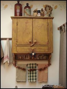pretty primitive bathroom wall cupboard                                                                                                                                                                                 More #Primitivebathrooms #PrimDecor