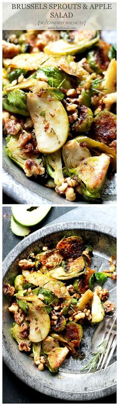 Brussels Sprouts and Apple Salad with Candied Walnuts! A delicious side dish of brussels sprouts tossed together with tart apples and garnished with candied walnuts.
