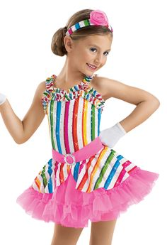 Girls' Candy Stripe Ruffle Dress; Weissman Costume for Glowing Stars Mondays