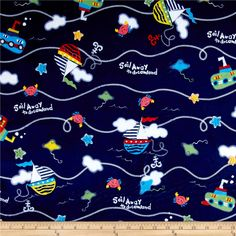 Minky Sail Away Navy from @fabricdotcom  This minky fabric has a soft 2mm pile that's perfect for baby accessories, quilt backings, blankets, throws, pillows and stuffed animals. Colors include red, orange, yellow, green, blue, pink, navy and white.