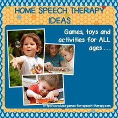 """Home Speech Therapy Ideas and Games. Originally pinned by Kathryn ~ Kids Games for Speech Therapy onto """"Moms & Speech Therapy"""""""