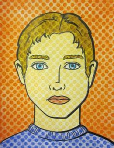 Quick Lichtenstein Pop Art Portrait Lesson for the end of the school year. Handout has pre printed dots. They just draw, sharpie, and color.