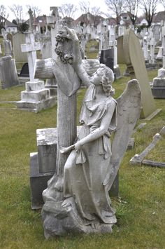 The Graveyard Detective: Southport Angel Cemetery Angels, Cemetery Statues, Cemetery Headstones, Old Cemeteries, Cemetery Art, Angel Statues, Graveyards, Unusual Headstones, Angel Sculpture