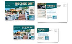 Decks and Fencing Postcard Template Design by StockLayouts Postcard Layout, Postcard Template, Postcard Design, Graphic Design Templates, Graphic Design Print, Graphic Design Inspiration, Design Ideas, Marketing Postcard, Indesign Templates