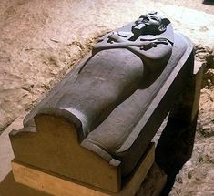 "Merneptah sarcophagus, reportedly the largest ever found in Egypt. Made of red granite, the royal sarcophagus was built for Merneptah, an Egyptian pharaoh who lived more than 3,200 years ago. A warrior king, he defeated the Libyans and a group called the ""Sea Peoples"" in a great battle."