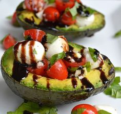 Grilled Avocado Caprese Salad~July is national Grilling month and this is a great guilt-free recipe! #nationalgrillingmonth