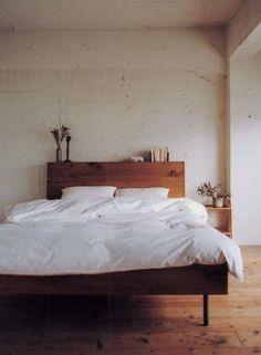 Wood Platform Bed - white bedding...ahhh!