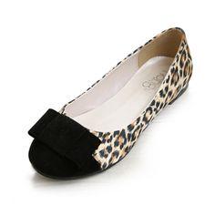 Leopard Satin Bow Circle Head Flat Shoes