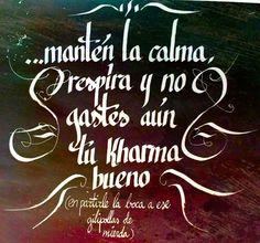 92/366 - Mantén la calma, respira y no gastes aún tu kharma bueno #caligrafia…