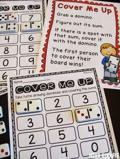 Fact Fluency in First Grade COVER ME UP Dominoes center where each kid gets a game board and covers the sum their domino makes. Math Resources, Math Activities, Maths Games Ks1, Math Board Games, Learning Games, Fun Games, Math Fact Fluency, Math Addition, Addition Facts