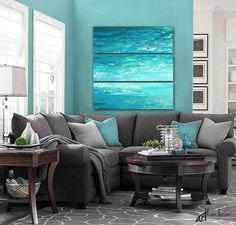 Grey, Teal U0026 Turquoise Abstract Canvas Art Set Designed To Enhance Your  Bedroom, Living Room, Foyer, Guest Room, Or Office Decor. Colors Include  Aqua, Teal, ...