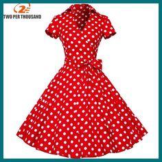 4XL plus size 2018 New Summer Women Retro Vintage Pin Up Dresses 50s 60s Polka dots Cotton Dress Short sleeve Vestido de fiesta