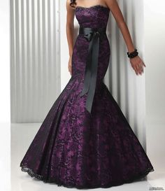 Strapless plum with black lace wedding dress...if I could get away with it, I would totally walk down the aisle in this!!!!