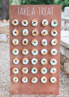 Here are the best ways to serve donuts at your weddings. These dessert tables and donut stations will make you consider serving up this treat at your wedding reception. Small Wedding Cakes, Wedding Cake Rustic, Elegant Wedding Cakes, Beautiful Wedding Cakes, Wedding Cake Designs, Doughnut Wedding Cake, Wedding Donuts, Bridal Shower Desserts, Wedding Desserts
