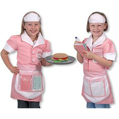 This pretty pink dress comes with a cap and ready-to-personalize name tagColor-coordinated apron with pockets conveniently stores the included menu and dry-erase order ticketA sturdy tray completes this professional look