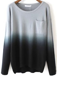 SheIn continues the style with this black dip hem ombre sweater