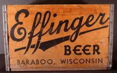 RARE Old Antique Wood Wooden Effinger Beer Crate Baraboo Wisconsin Antique Signs, How To Antique Wood, Vintage Wood, Baraboo Wisconsin, Old Crates, Vintage Labels, Old Antiques, Silhouette Projects, Wood Boxes