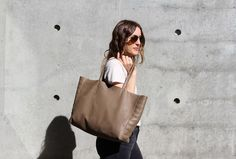 Moto Tote in Taupe / Future Glory Co. San Francisco Woman, College Tote, Companies That Give Back, Laptop Tote, Women's Accessories, Purses And Bags, Brown Leather, Tote Bag, Stylish