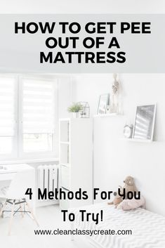 You discovered that your child has wet the bed or their diaper leaked and now you have a soggy mattress to clean. We have 4 methods for you to try that are effective for getting pee out of a mattress. House Cleaning Tips, Cleaning Hacks, Clean Bedroom, Bedroom Cleaning, Pee Smell, Diy Cleaners, Wet And Dry, Keep It Cleaner, Clean House