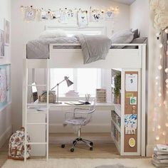 Sturdy, stylish and fun to decorate, our GREENGUARD Gold Certified Sleep + Study® Loft Bed has everything you need in one charming package. It features a loft bed over a compact desk with ample storage space, including shelving on both sides and… Cute Bedroom Ideas, Girl Bedroom Designs, Room Ideas Bedroom, Small Room Bedroom, Bedroom Loft, Bedroom Decor, Loft Bed Room Ideas, Master Bedroom, Kids Bedroom