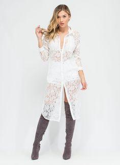 Arts 'N Crafts Lace Shirt Dress #shirtdress #lace #gojane