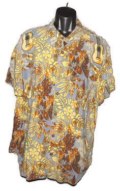 71351e6e Royal Creations Hawaiian Shirt Sz XL Hawaii Blue Tiki Hibiscus Guitar Turtle