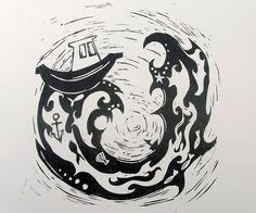 Storm  Hand pulled Linoprint by littlebirdesigns on Etsy