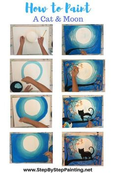How To Paint A Cat And Moon - Tracie's Acrylic Painting Tutorials. StepByStepPainting.net
