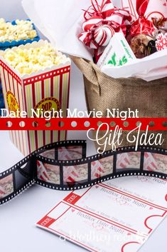 Movie Night Basket Gift Have a Date Night At Home with this idea: Movie Date Night Gift Idea Movie Night Basket, Movie Basket Gift, Movie Gift, Date Night Movies, Date Night Gifts, Movie Dates, At Home Date Nights, Romantic Dates, Romantic Gifts