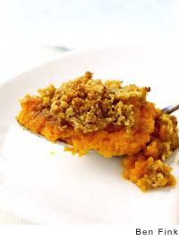 This sweet potato souffle recipe is whipped sweet potatoes topped with pecans, brown sugar, and sweet creamy butter. Nothing is better on Thanksgiving. Sweet Potato Souffle, Sweet Potato Pecan, Sweet Potato Casserole, Sweet Potato Recipes, Food Network Recipes, Food Processor Recipes, Cooking Recipes, Thanksgiving Recipes, Holiday Recipes