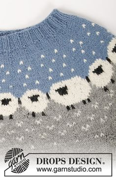 Cardigan / DROPS - Free knitting patterns by DROPS Design : Sheep Happens! Cardigan / DROPS – Knitted jacket with round yoke in DROPS Lima. The piece is worked top down with a Nordic pattern with sheep. Sizes S – XXXL. Baby Knitting Patterns, Knitting For Kids, Free Knitting, Knitting Projects, Crochet Patterns, Finger Knitting, Scarf Patterns, Knitting Machine, Drops Design
