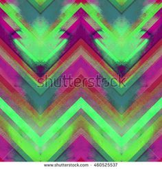 Watercolor zig zag ornament seamless pattern. Wrapping seamless neon saturated…