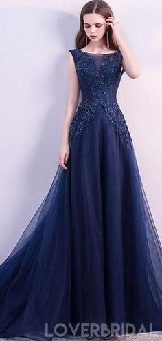 297b18c8710 Scoop Navy Lace Beaded Long Evening Prom Dresses