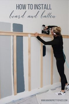 HOW TO INSTALL FULL BOARD AND BATTEN Board And Batten, Home Repairs, Diy House Projects, Home Upgrades, Home Reno, Diy Home Improvement, First Home, Home Remodeling, Bathroom Renovations