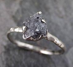 Rough Raw Gray Black Diamond Engagement Ring Raw 14k White Gold Wedding Ring Wedding Solitaire Rough Diamond Ring