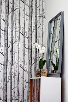 like the tree wallpaper.bring the outdoors in My Home Design, Home Interior Design, Interior And Exterior, House Design, Forest Wallpaper, Wood Wallpaper, Future Wallpaper, Wallpaper Patterns, Cole And Son