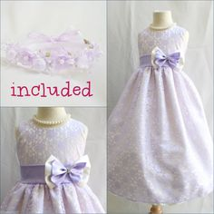 32.50$  Buy now - http://virma.justgood.pw/vig/item.php?t=1eguseb53509 - Gorgeous Lilac ivory brocade lace flower girl party dress FREE HEADPIECE size 10