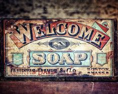 WELCOME SOAP A fun, colorful piece for your rustic bathroom decor. Featuring teal, turquoise, beige and red, this piece is great for a guest bath, childrens bathroom, nursery or powder room. I also have included it in several sets if you prefer a complete wall gallery (find them in my bathroom section here: http://etsy.me/2nkmL2T). ☞ Select PHOTO, MATTED PHOTO or CANVAS & Size from drop-down list. ✓ Find wood plank art here: http://etsy.me/1T9QRwX ◎ Colors ma...