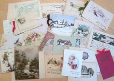 Old Christmas and Greeting Cards Lot / Destash / Altered Art / Scrapbook / Collage / Craft Supply / Early 1900s