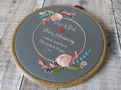 Cotton Anniversary Gifts, Wedding Anniversary Gifts, Happy Anniversary, Wedding Gifts, Floral Hoops, Floral Motif, Business Cards And Flyers, Embroidery Motifs, Running Stitch