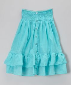 This Aqua Crush Shirred Button Maxi Skirt - Toddler & Girls by Chillipop is perfect! #zulilyfinds