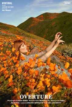 Floral suits, statement earrings, print dresses, tulle sleeves, and gem encrusted evening dress. Photographed in an orange poppy field in California. Aesthetic Photo, Aesthetic Pictures, Photography Pics, Editorial Photography, Orange Aesthetic, Fashion Photography Inspiration, Fashion Pictures, Art Model, Poppies
