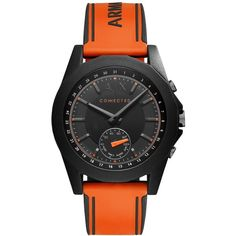 A|X Armani Exchange Men's Connected Orange Silicone Strap Hybrid Smart... (53 KWD) ❤ liked on Polyvore featuring men's fashion, men's jewelry, men's watches, orange, mens watches jewelry, men's blue dial watches, mens silicone watches and mens orange watches