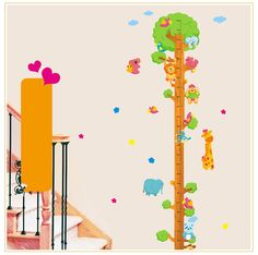 Bling2Bling Cartoon Animals Climbing Tree Height Charts Wall Sticker Children's Height Measuring Wall Decal for Children Room >>> Additional details at the pin image, click it  : home diy wall
