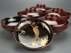 輪島塗:見返し蒔絵桜鳥図椀